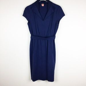 Elie Tahari Navy Blue Silk Dress, Cinched-Waist
